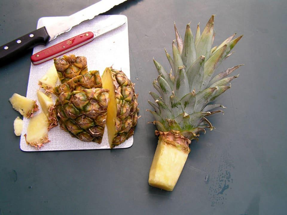 Zugeschnittener Setzling einer Ananas und Rüstabfälle auf einem Küchentisch.