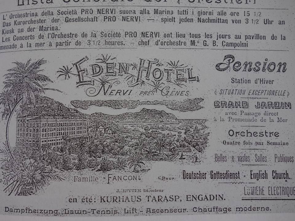 In inserat en la gasetta turistica Pro Nervi, dal avrigl 1904.