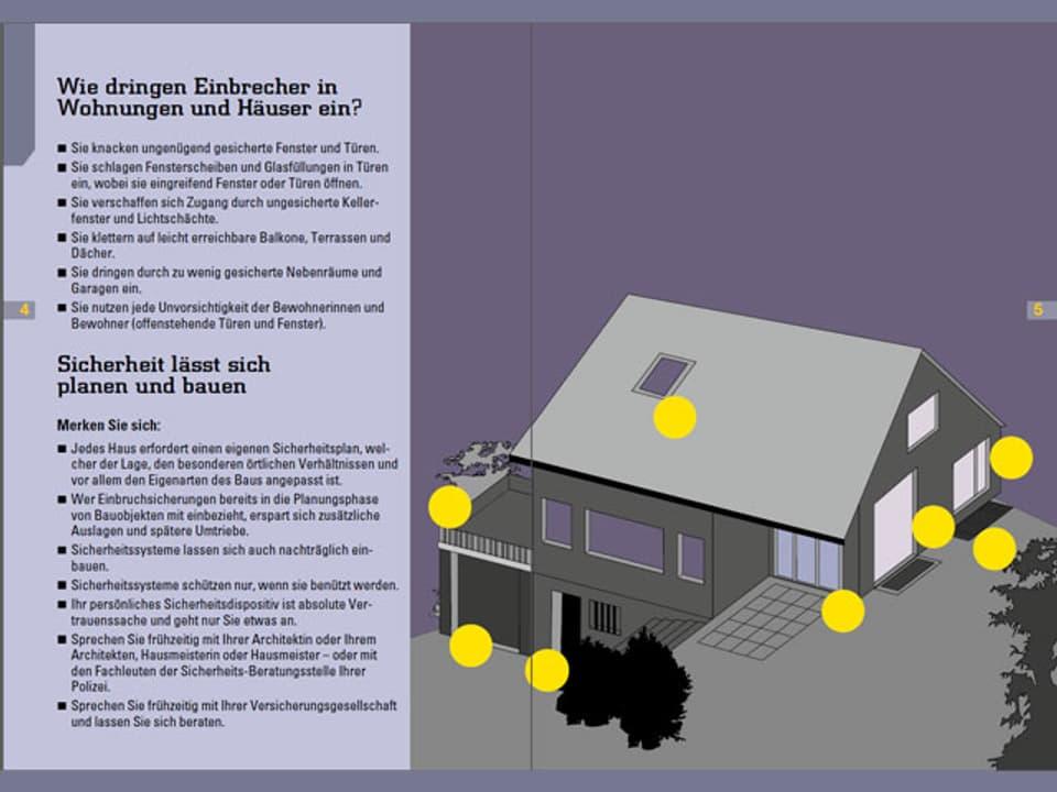 Skizze mit Schwachstellen an einem Haus