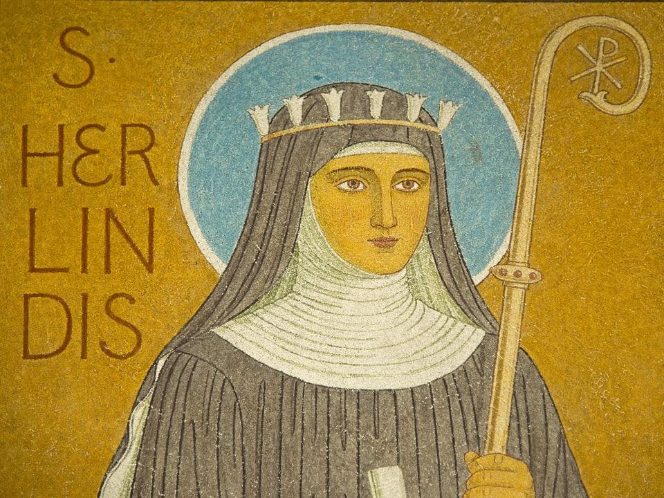 Mosaik einer Nonne mit Krone, Heiligenschein und Bischofsstab