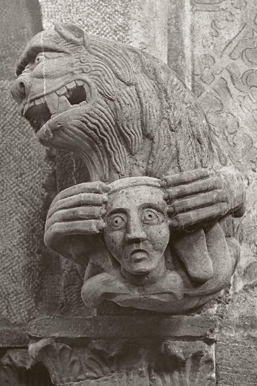 Liun cun chau d'in carstgaun en la grifla, enturn 1210/1220.