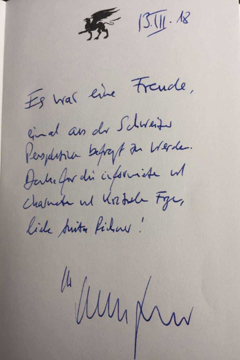 Gästebucheintrag von Christian Lindner.