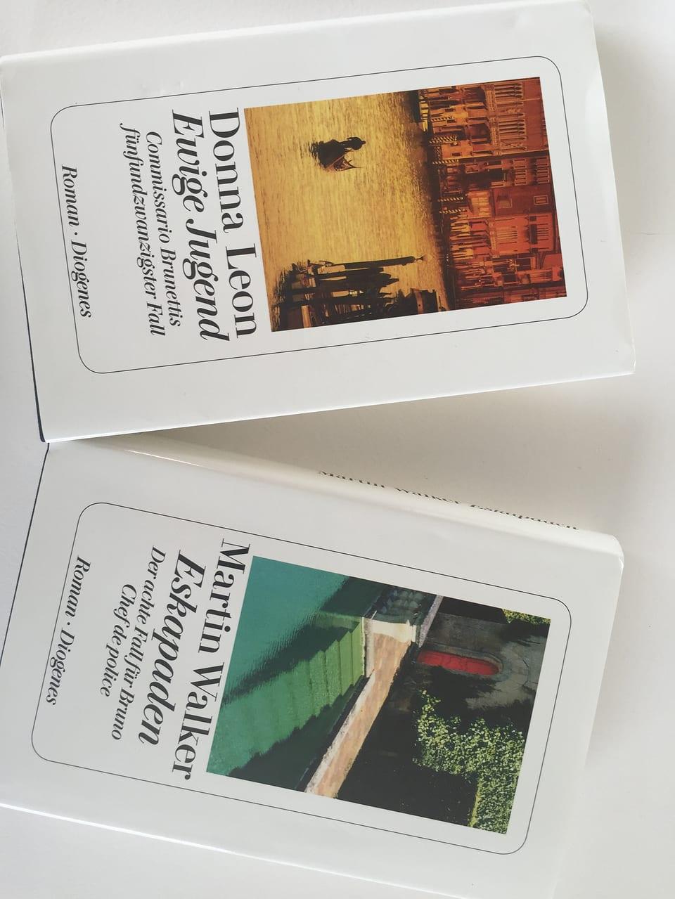 Cover dals cudeschs «Ewige Jugend» da Donna Leon ed «Eskapaden» da Martin Walker.