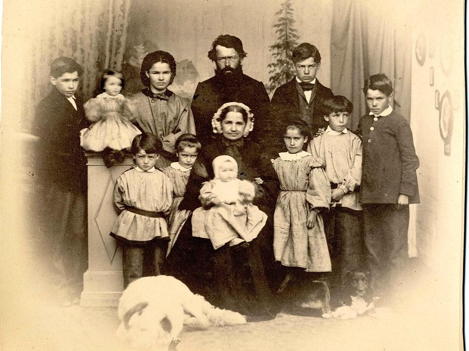 Johannes Badrutt-Berry cun sia famiglia, 1863.