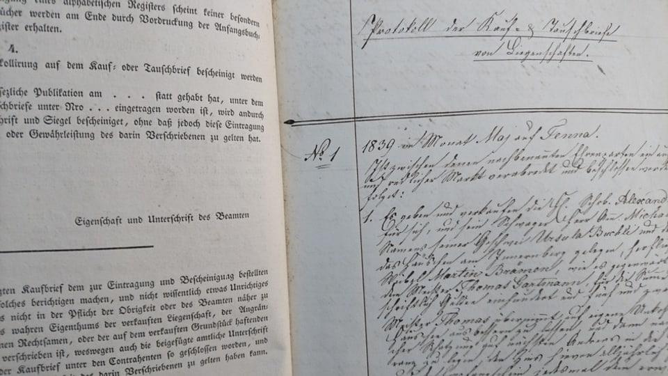 L'emprima registraziun en in vegl cudesch funsil da Tenna dal matg 1839.