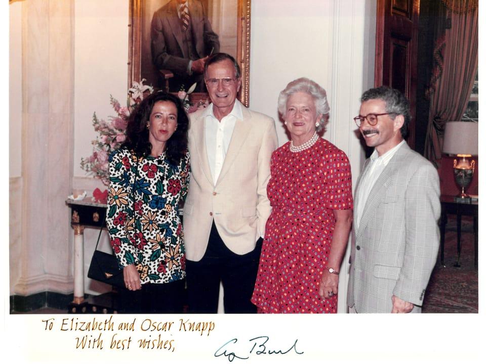 Inscunter dad Elisabetta ed Oscar Knapp cun il president dals Stadis Unids da l'America George Bush e sia dunna Barbara en la Chas'alva a Washington D.C.