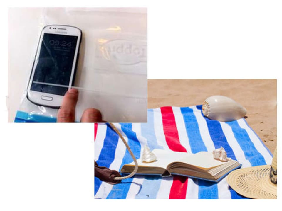 Handy in einem Allzweckbeutel, daneben ein Strand mit Badetuch und Sonnenhut.