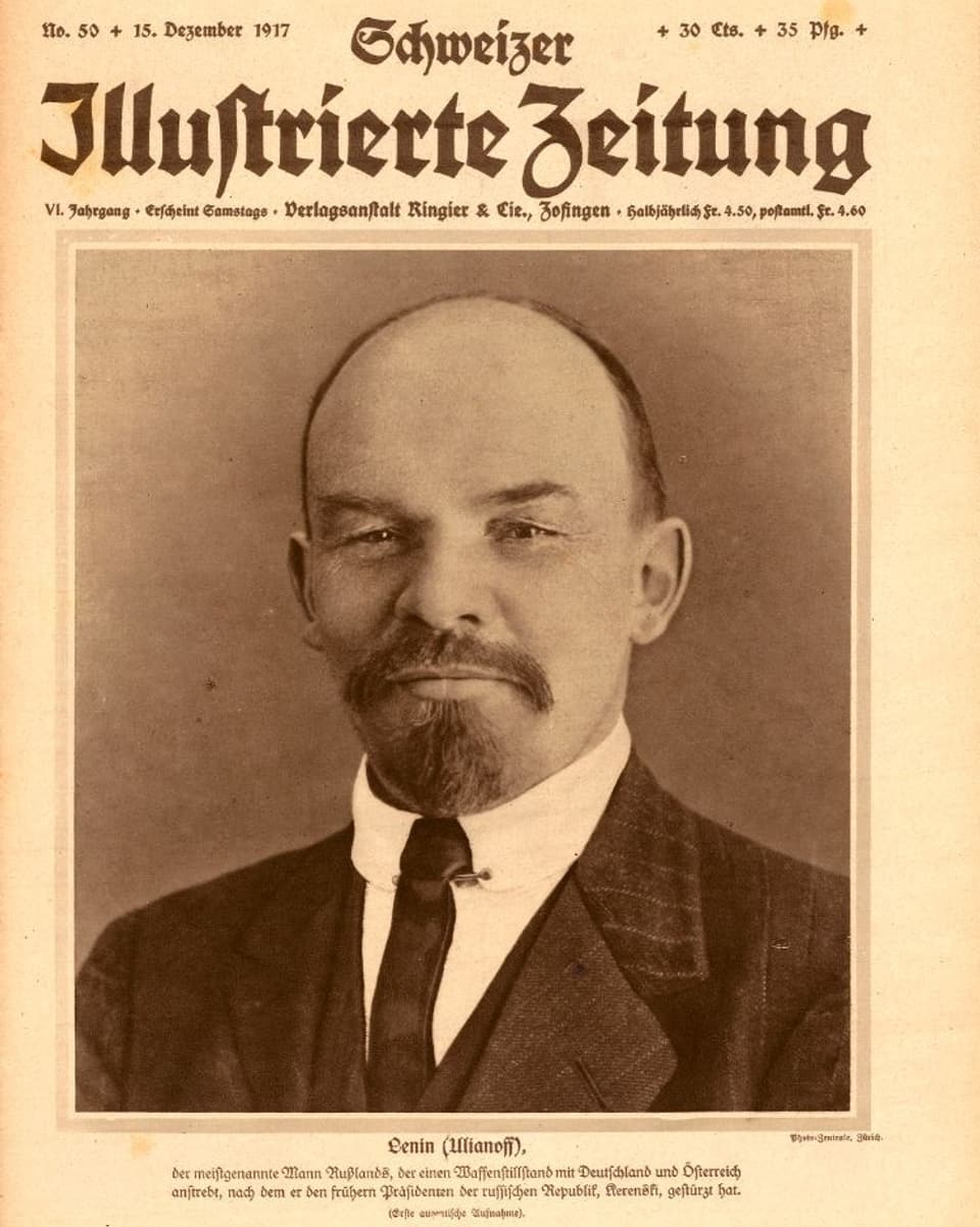 "Lenin sin il frontispizi da la ""Schweizer Illustrierte Zeitung"" dal december 1917"