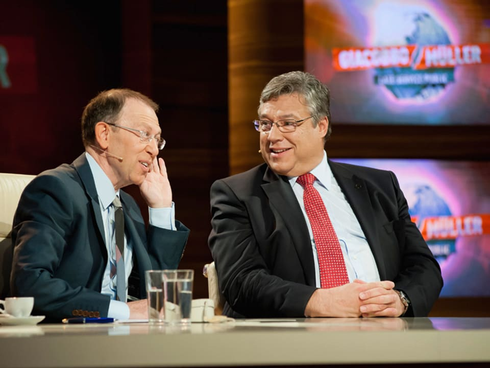 Filippo Lombardi und Giacobbo im Gespräch