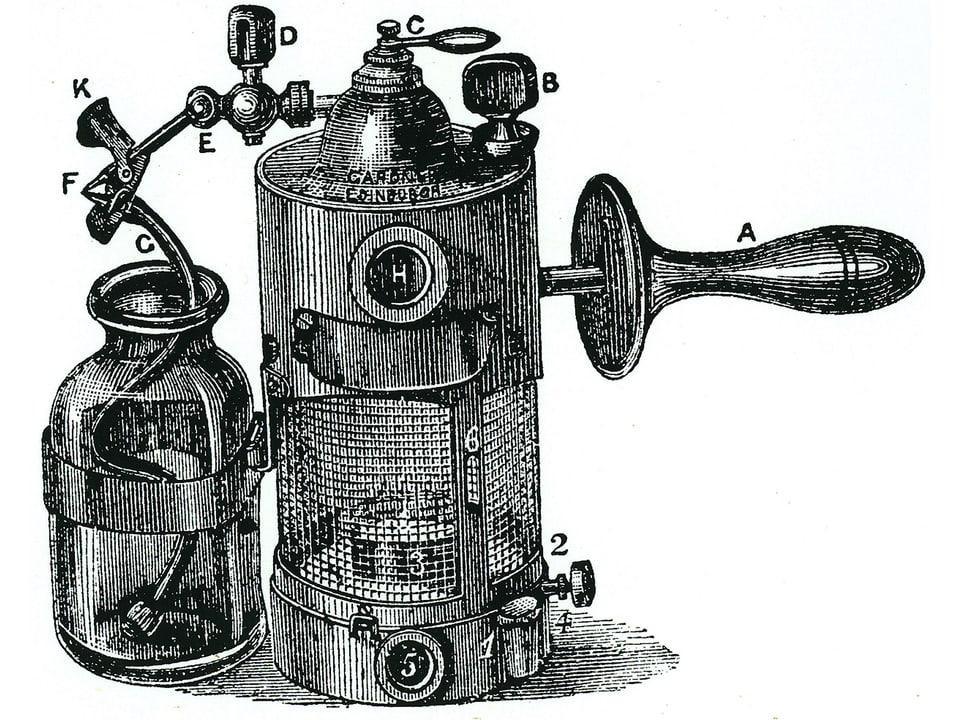 Schematische Zeichung des Verdampfungsapparats