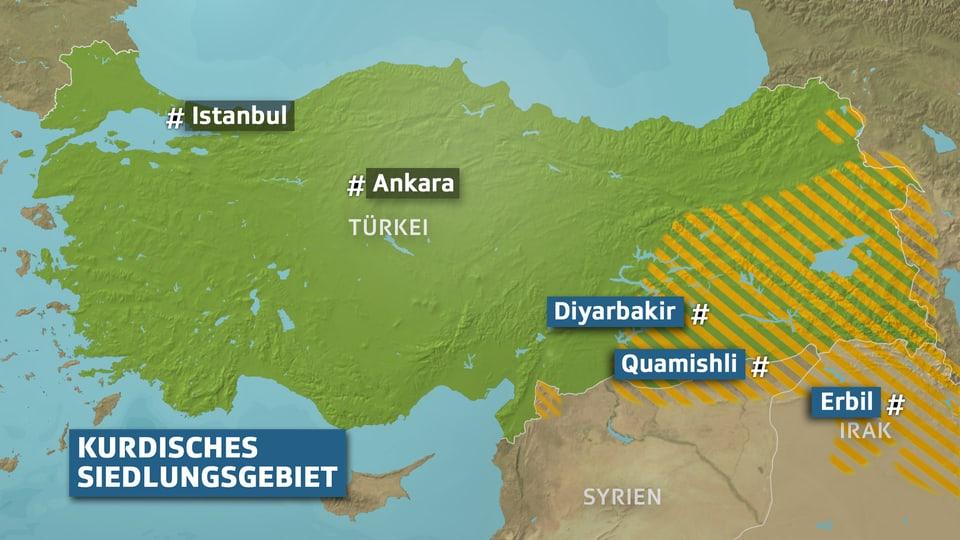 Karte kurdische Gebiete