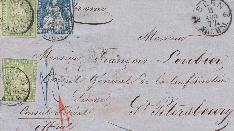 Brief mit Marken und Stempel