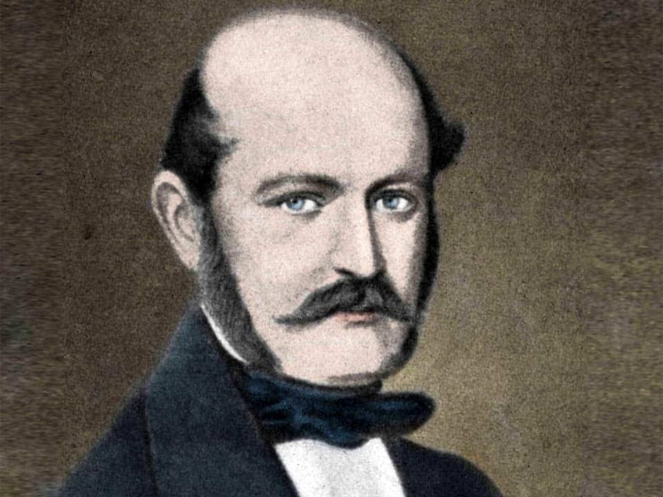 Gemälde eines Mannes mit Schnauzbart und Stirnglatze.