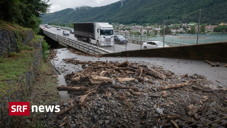 Starkregen in der Südschweiz - Unwetter unterbricht Auto- und Zugverkehr im Tessin