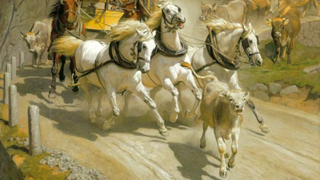 Inspiration für den Titel des Gewinnerbuchs von Peter von Matt: «Die Gotthardpost» des Schweizer Malers Rudolf Koller (Ausschnitt).