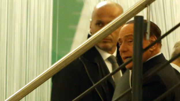 Berlusconi im Parteizentrum des Partito Democratioco in Rom