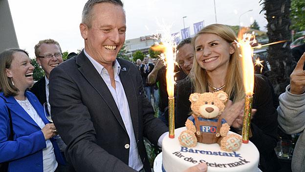 «Bärenstark für die Steiermark» - Wahlfeier für FPÖ-Kandidat Mmario Kunasek in Graz.