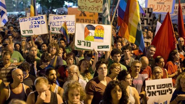 Am Samstagabend demonstrierten hier in Jerusalem und in ganz Israel Tausende gegen Hassverbrechen.