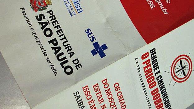 Informationsbroschüre zu den Gefahren des Denguefiebers, herausgegeben von den Behörden von Sao Paolo.