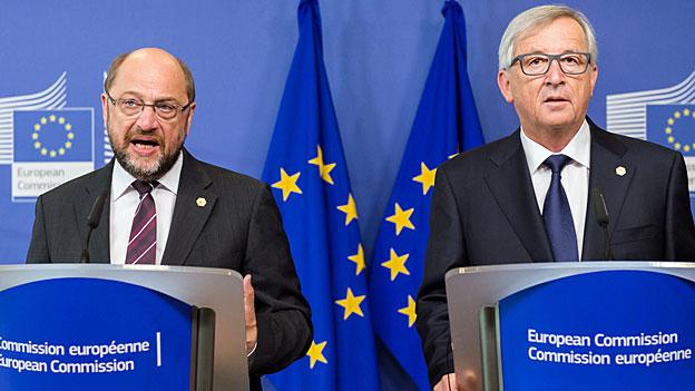 Martin Schultz und Jean-Claude Juncker fordern von den EU-Staaten eine Einigung und den Willen, gemeinsame Ergebnisse zu erzielen.