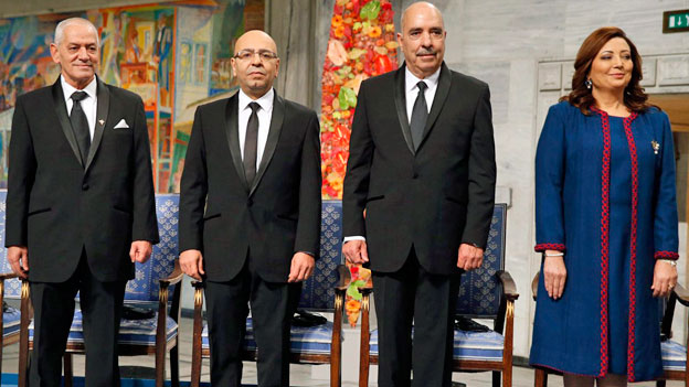 Das Tunesische Quartett, bestehend aus dem Gewerkschaftsbund UGTT, dem Arbeitgeberverband Utica, der Menschenrechtsliga LTDH und der Anwaltskammer.