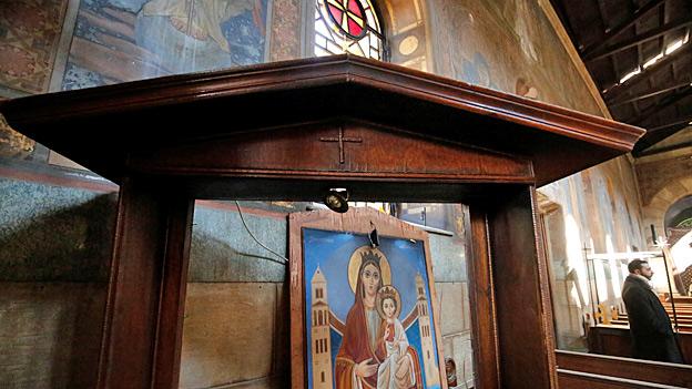 Madonnenbild in einer Kathedrale von koptischen Christen in Kairo.