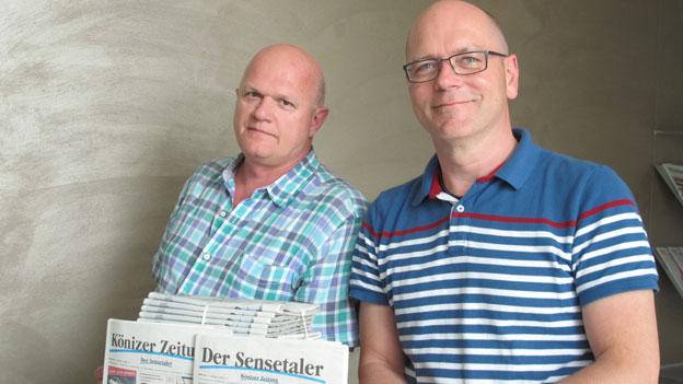 Verleger Bruno Grütter (links) und Redaktionsleiter Martin Hasler der «Könizer Zeitung» und des «Sensetaler».