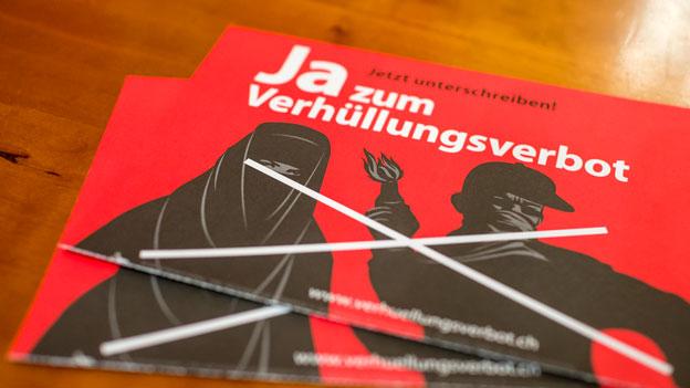 Flyer zum Verhüllungsverbot.