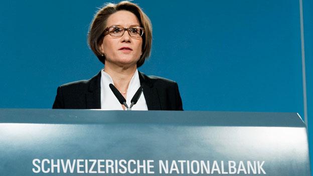 Andrea Maechler, Direktorin der Schweizerischen Nationalbank, präsentiert die geldpolitische Lagebeurteilung der SNB.