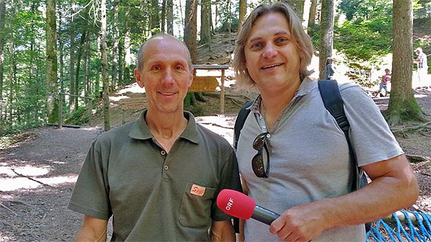 Förster und Reporter stehen auf einer Waldlichtung.