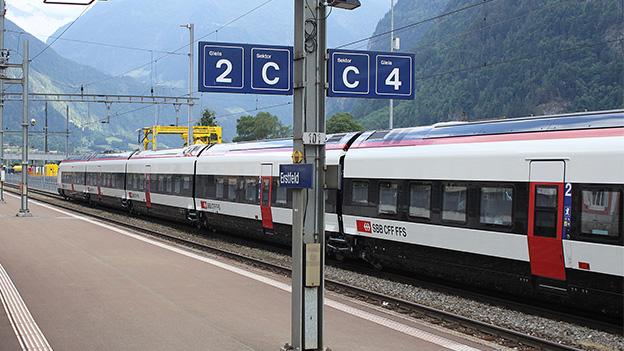 Ein Zug an einem Bahnhof.