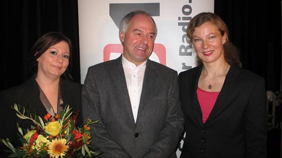 Kathrin Gerlach, Wilhelm Schmid und DRS 1-Gastgeberin Karin Frey.