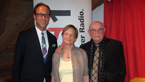 DRS1-Gastgeber Christian Zeugin, Yvonne Berner und Peter André Bloch.