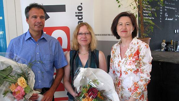 Olivier Küttel, Claudine Brohy und DRS 1-Gastgeberin Katharina Kilchenmann.