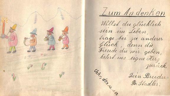«Hier ein Eintrag im Poesiealbum von meinem Bruder Bruno aus dem Jahr 1952», schreibt Vreni Balzer-Stadler.