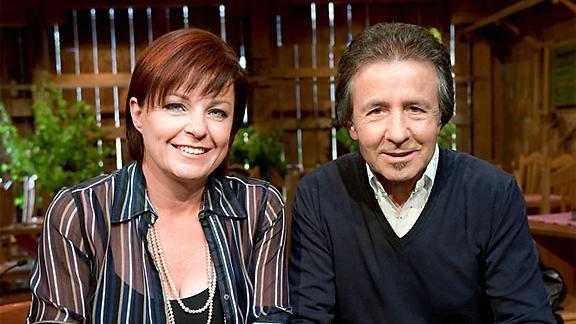 «Samschtig-Jass»-Moderatorin Monika Fasnacht mit Jass-Experte Ernst Marti.