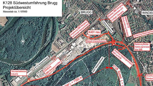 Die Umfahrung Brugg ist komplex und kostet rund 47 Millionen Franken.