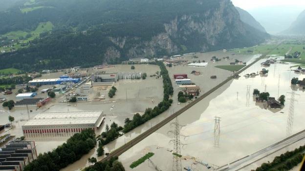 Das Industriegebiet in Schattdorf nach dem Unwetter im August 2005
