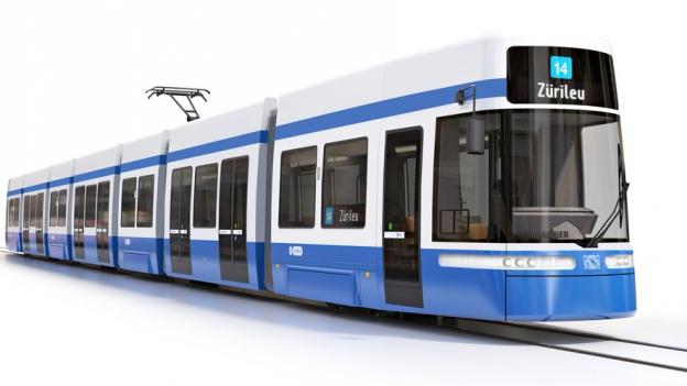 Computergrafik eines blauweissen Trams