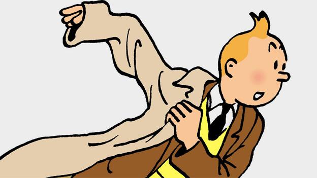 Tintin, wie immer in Eile, illustriert von Hergé.