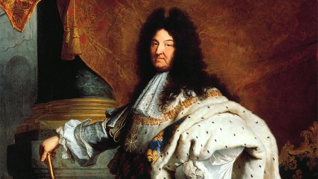 Gemälde: Louis XIV. mit üppiger Perücke, Umhang und Zepter.
