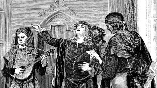 Historische Zeichnung eines singenden Minnesängers