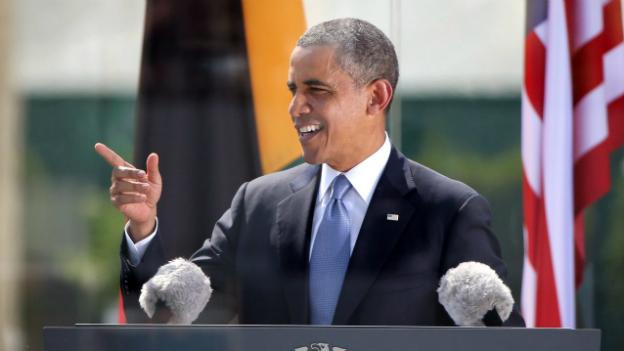 US-Präsident Obama bei seiner Rede beim Brandenburger Tor in Berlin
