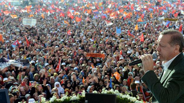 Premier Erdogan spricht vor Parteianhängern am 23. März 2014.