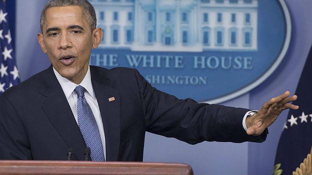 US-Präsident Obama während der Medienkonferenz.