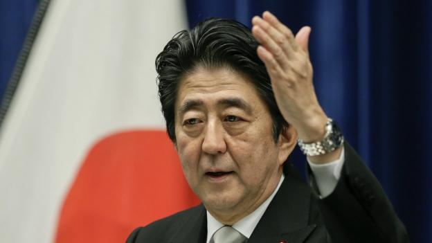 Shinzo Abe während einer Medienkonferenz am 7. Oktober 2015.
