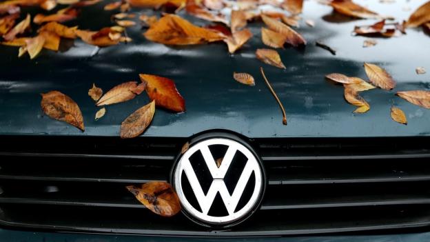 VW-Kühlerhaube mit Herbstblättern drauf.