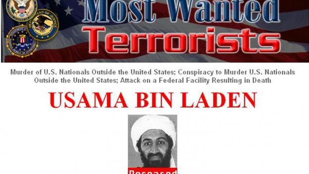 Fahndungsplakat Osama Bin Laden.