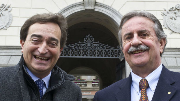 Der Bürgermeister von Lugano Marco Borradori (links) und sein Vize Giorgio Giudici