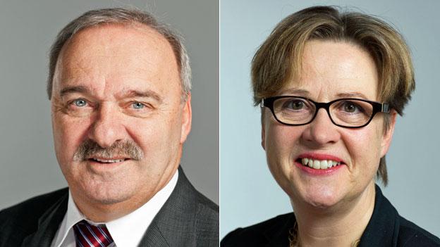 Porträts von SVP-Ständerat Alex Kuprecht und SP-Nationalrätin Edith Graf-Litscher.